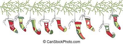 Seamless pattern brush with Christmas Santa socks on white....