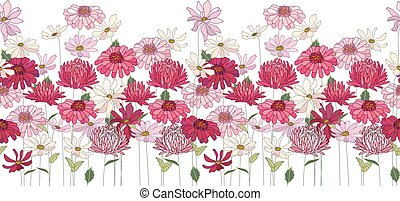 Seamless pattern brush with herbs, daisy, gerbera and other flowers. Endless horizontal texture.