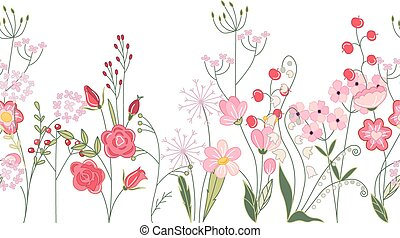 Seamless pattern brush with herbs, roses and wild flowers. Endless horizontal texture.