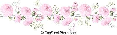 Seamless pattern brush with ranunculus, stylized summer flowers.