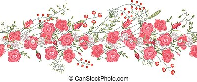 Seamless pattern brush with roses and herbs.
