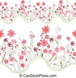 Seamless pattern brush with stylized bright summer flowers. Endless horizontal texture.