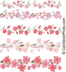 Seamless pattern brush with stylized bright summer flowers. Pink and red colors.