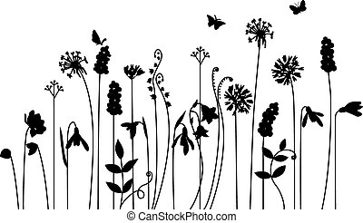 Seamless pattern brush with stylized summer flowers.