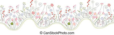 Seamless pattern brush with stylized summer flowers. Endless horizontal texture.