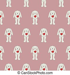Seamless pattern bunny with red love heart