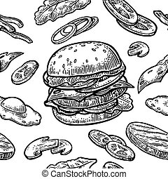 Seamless pattern burger and ingredients include cutlet, tomato, cucumber and salad. Vector vintage engraving illustration for poster, menu, web, banner, info graphic. Isolated on white background.
