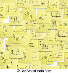Seamless pattern: business and finance giagram and analyzing on white background