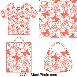 Seamless Pattern, Butterflies and Hearts