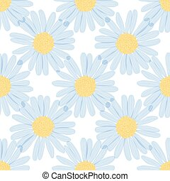 seamless pattern - camomiles on the a white background