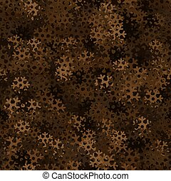 Seamless pattern camouflage of snowflakes. Chocolate brown colors