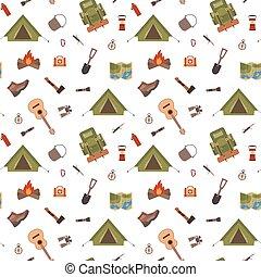 Seamless pattern camping equipment symbols