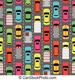 Seamless Pattern Cars on Parking. Endless Texture