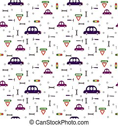 Seamless pattern: cars, road signs and tools on a white background.