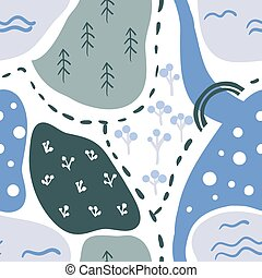 Seamless pattern: cartoon map with doodle lake