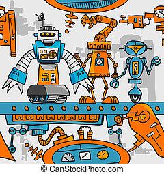 Seamless pattern cartoon robots