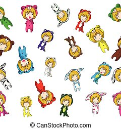 Seamless Pattern Cartoon vector hand drawn Doodles Girl character design Mascot animal2