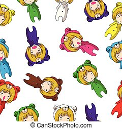 Seamless Pattern Cartoon vector hand drawn Doodles Girl character design Mascot Bear