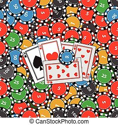 Seamless pattern. casino game. card chips.
