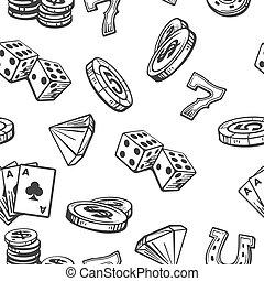 Seamless Pattern Casino set symbols. Black and white vintage vector illustration on white background for label, poster, web,  icon, banner.