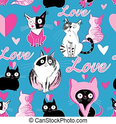 Seamless pattern cats in love