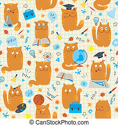 Seamless Pattern - Cats Studing Sch - Vector seamless...