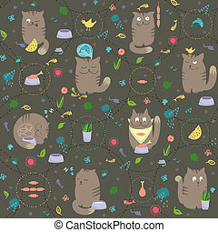 Seamless Pattern - Cats With Foods