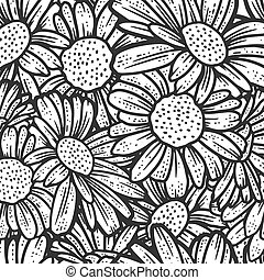 Seamless pattern, chamomile flowers. Sketch scratch board imitation. Black and white. Engraving vector illustration.