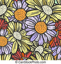 Seamless pattern, chamomile flowers. Sketch scratch board imitation. Color engraving vector illustration.