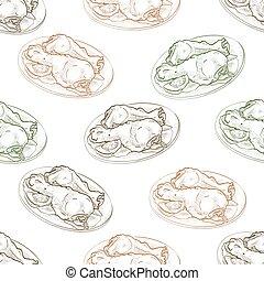 Seamless pattern chicken legs scetch. Vector illustration, ...