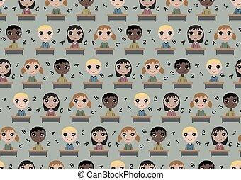 Seamless pattern children in school