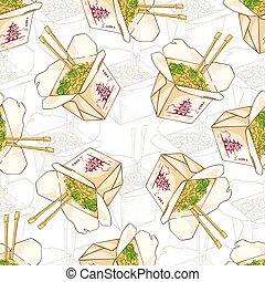 Seamless pattern chinese noodles box