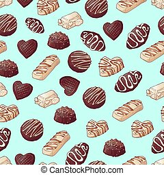 Seamless pattern. Chocolate candies. Vector illustration Hand drawing