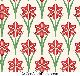Seamless pattern Christmas amaryllis, vector
