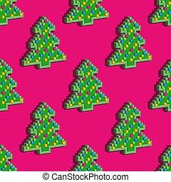 Seamless pattern. Christmas pixel tree on pink
