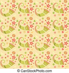 Seamless pattern christmas, wrapping paper for gifts. Edited. Cornucopia, Christmas ornaments