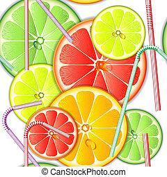 Seamless pattern citrus fruit