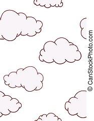 Seamless pattern cloud cartoon flat hand drawn on white background