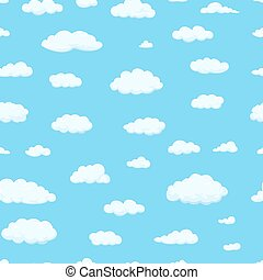 Seamless pattern. Clouds of different shapes in the sky for your web site design, UI, app. Meteorology and atmosphere in space.