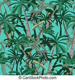 Seamless pattern coconut palm trees. Cartoon style vector background