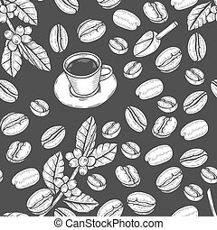 Seamless pattern coffee beans.