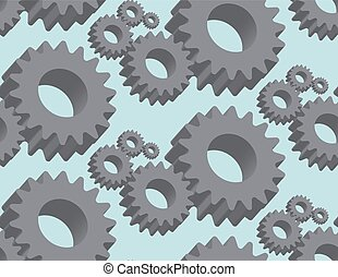Seamless pattern cogwheel in 3D