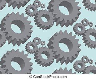 Seamless pattern cogwheel in 3D