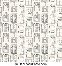 seamless, pattern., colección, de, viejo, puerta, icono, aislado, ilustración, vector., conjunto, con, cicatrizarse, de madera, door., simple, diseño