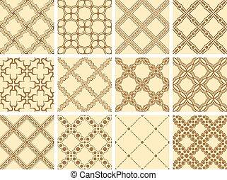 Set of 12 ornamental seamless wallpaper pattern