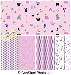 Seamless Pattern Collection With Cute Flower Pots
