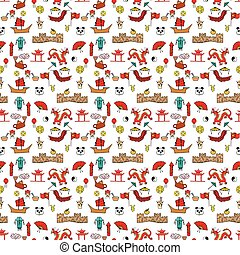 Seamless pattern color Chinese characters