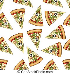Seamless pattern color pizza with mashrooms