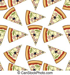 Seamless pattern color pizza with shrimp