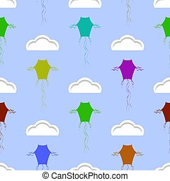 Colored Kites Flying in Blue Sky with Sun and Clouds. Freedom Concept. Toy for Children